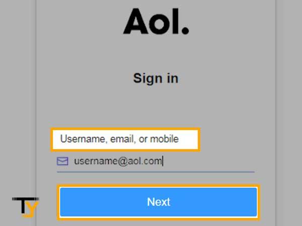 Ingrese el nombre de usuario del tu cuenta de AOL