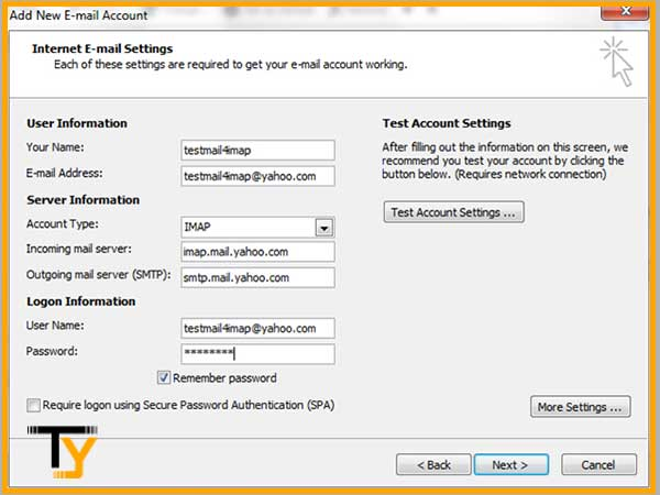 Verifique la configuración de su servidor entrante y saliente