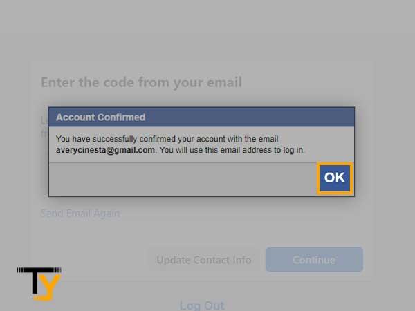 mensaje de confirmación en la pantalla; presione 'Aceptar' para continuar