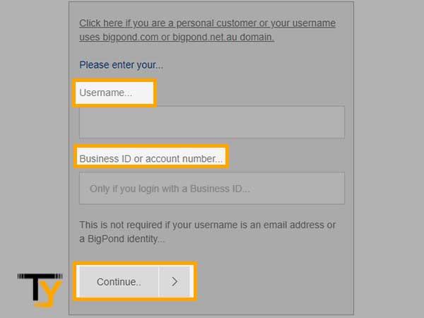 ingrese su nombre de usuario e identificación comercial o número de cuenta y luego haga clic en Continuar.