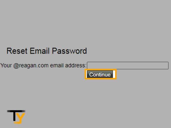ingrese su dirección de correo electrónico reagan.com y haga clic en Continuar